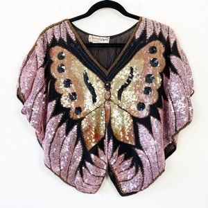 VTG Silk Beaded Sequin Butterfly Poncho Blouse